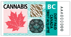 British Columbia excise stamp that BC licensed producers must use.